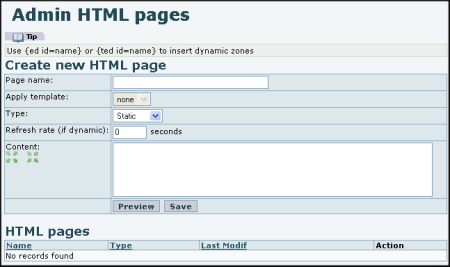 Admin HTML Pages