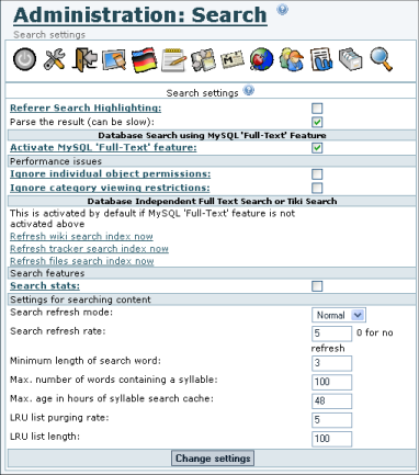 Search General Settings