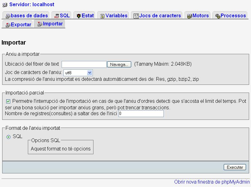 Export tab, in Phpmyadmin version 2.8.x