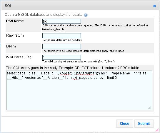 PluginSQL | Documentation for Tiki Wiki CMS Groupware