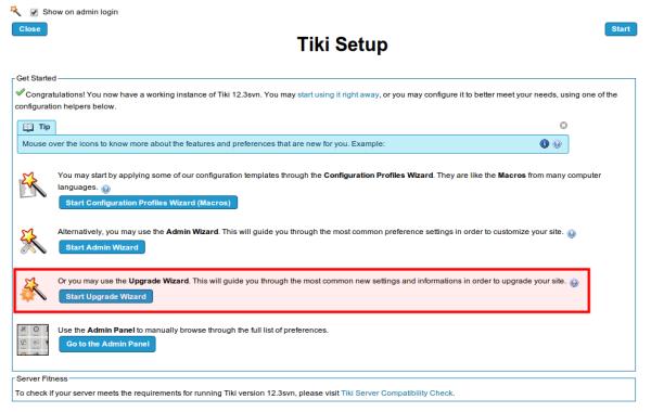 Upgrade Wizard | Documentation for Tiki Wiki CMS Groupware