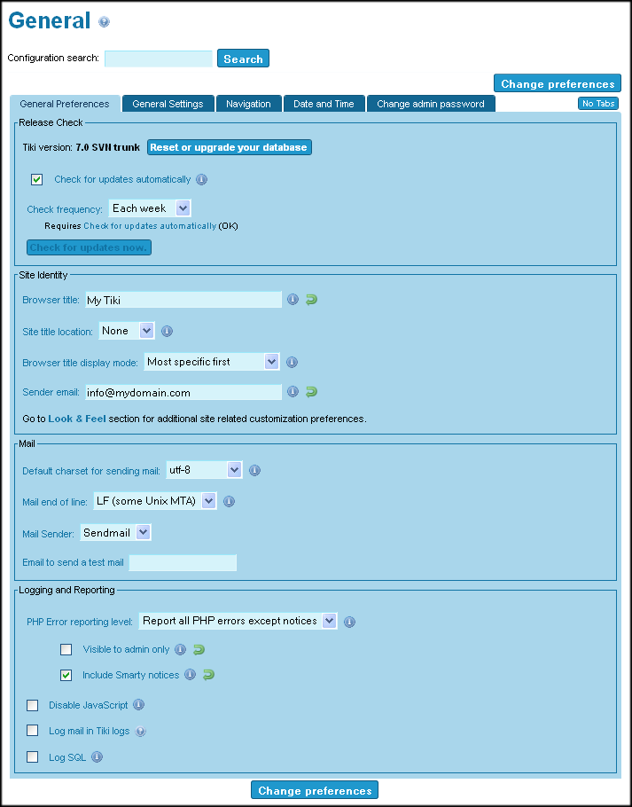 General Preferences | Documentation for Tiki Wiki CMS Groupware