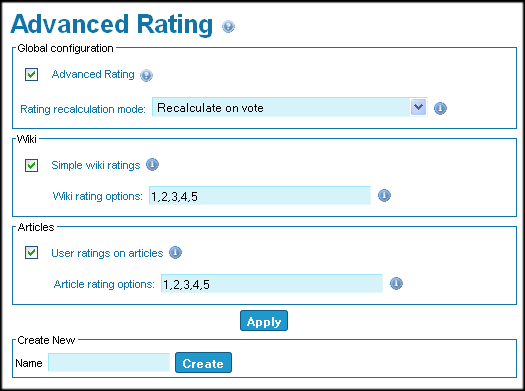 Advanced Ratings page
