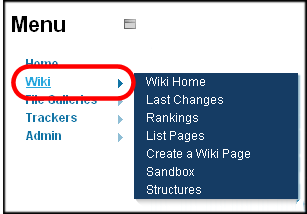 Sample Wiki menu.