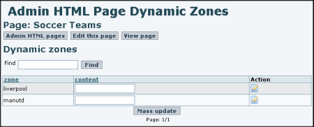 Admin HTML Page Dynamic Zones
