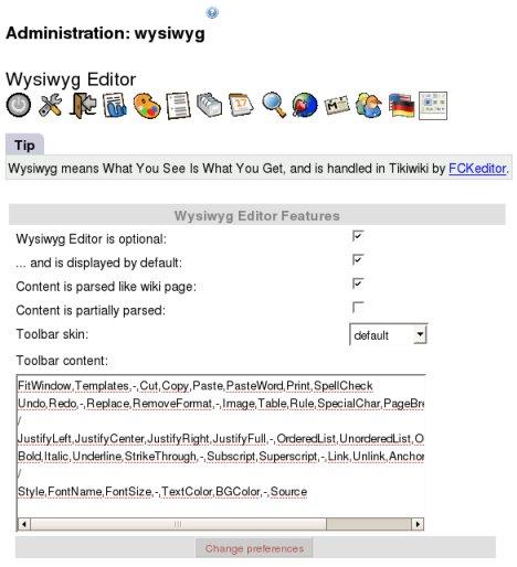 Wysiwyg Editor Admin | Documentation for Tiki Wiki CMS Groupware